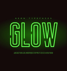 glowing linear neon typefaces alphabet vector image