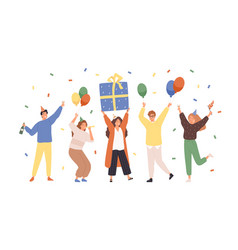 group happy people raising hands celebrating vector image