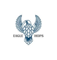 hand drawn eagle falcon hawk and hops logo vector image