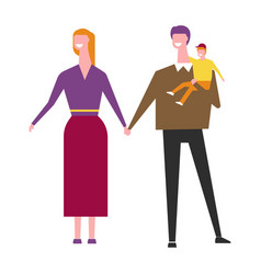 husband and wife with baby boy in hands cartoon vector image