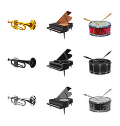 isolated object of music and tune icon collection vector image