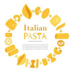 italian pasta different types fusilli spaghetti vector image