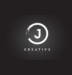 J circular letter logo with circle brush design vector