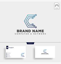 letter c digital technology logo template vector image