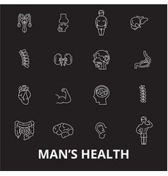 man health editable line icons set on black vector image
