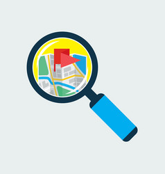 Map inside magnifier flat icon vector