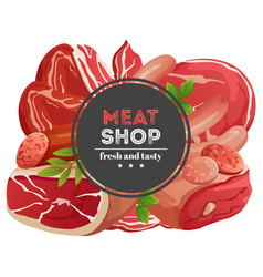 meat shop emblem with meat products vector image