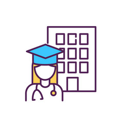 Medical student rgb color icon vector