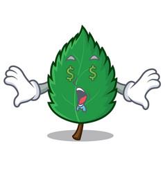 Money eye mint leaves mascot cartoon vector