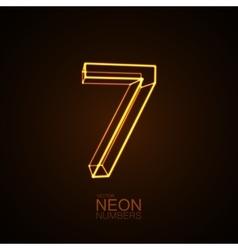 Neon 3d number 7 vector