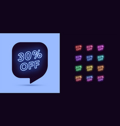 neon discount tag 30 percentage off offer sale vector image