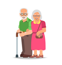 Old couple man and woman standing together vector