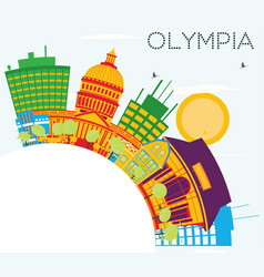 Olympia skyline with color buildings blue sky and vector