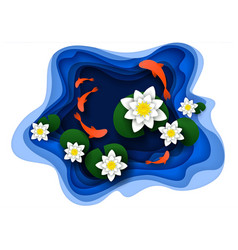 Paper cut water lily on lake vector