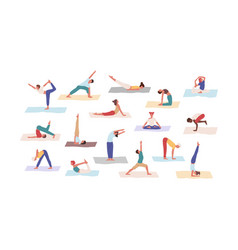 People practicing yoga position set flat vector