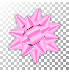 pink bow ribbon 3d decor element package shiny vector image