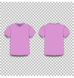 Pink men s t-shirt template v-neck front and back vector