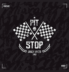 Pit stop emblem and seamless pattern vector