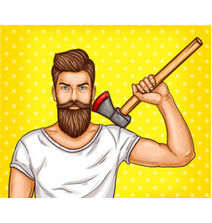 Pop art brutal bearded man macho with an vector