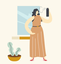 Pretty female character styling hair at home vector