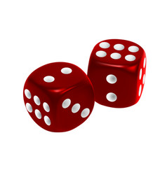 red dice isolated on white background vector image