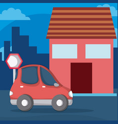 red small car on neighborhood vector image
