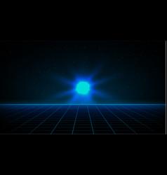 Retrowave synthwave vaporwave blue laser grid vector