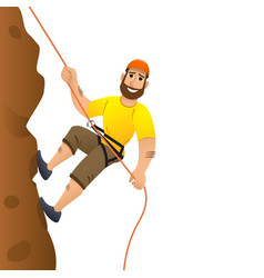 Rock climber man commits to rise the steep slope vector