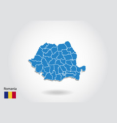 romania map design with 3d style blue romania map vector image