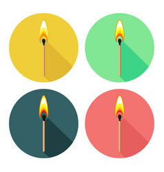 Round icons with burning match isolated on white vector