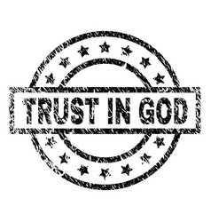Scratched textured trust in god stamp seal vector