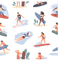 seamless pattern different people swimming vector image