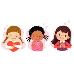 Set cartoon little girls hugging themself vector
