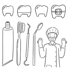 set dentist and dental equipment vector image
