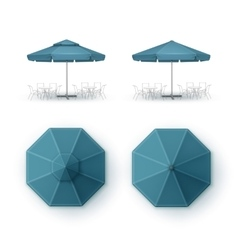 Set of Blue Patio Outdoor Cafe Pub Round Umbrella vector