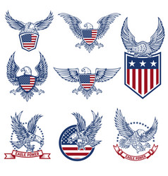 Set of emblems with eagles and american flags vector