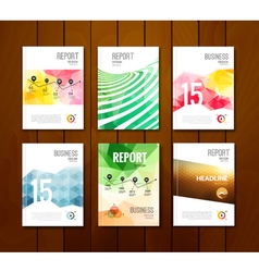 Set of trendy geometric business brochure cover vector
