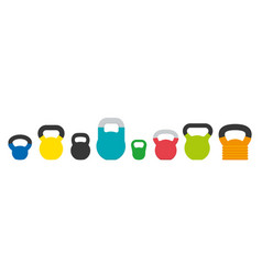 set various kettlebells for fitness and vector image