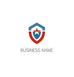 shield star protection company logo vector image