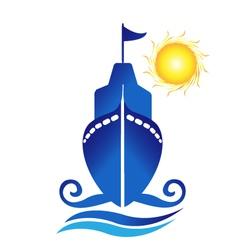 Ship sun waves logo vector image vector image