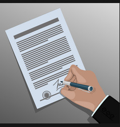 signing the contract vector image