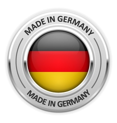 Silver medal made in germany with flag vector
