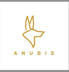 Simple line art anubis logo vector