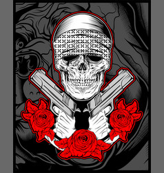 Skull mafiagengster wearing bandana with gun an vector