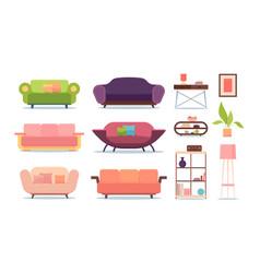 soft furniture sofas living room shelves relax vector image