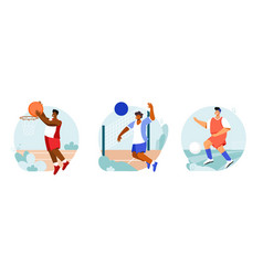 sports players round compositions vector image