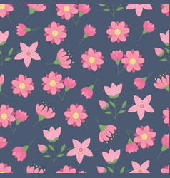 spring seamless pattern with pink flowers vector image
