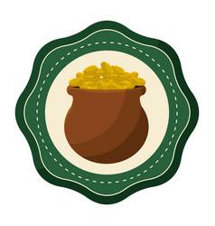 Sticker coins inside of flowerpot vector