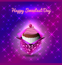 sweetest day concept of a sweet holiday cupcake vector image