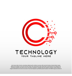 Technology logo with initial c letter future tech vector